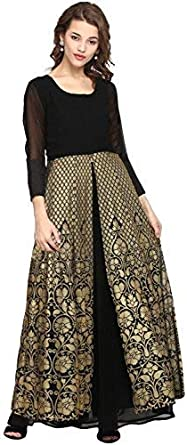 AHALYAA Women's 3/4th Sleeve and Round Neck Georgette Kurti Women's Kurtas & Kurtis at amazon