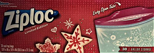 Ziploc Seal Top Bags Limite Holiday Edition -38 Gallon Bags