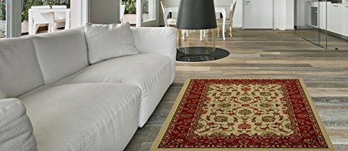 Anti-Bacterial Rubber Back LONG RUGS RUNNERS Non-Skid/Slip 3x10 Runner Rug   Ivory Traditional Floral Indoor/Outdoor Thin Low Profile Modern Home Floor Kitchen Hallways Colorful Decorative (Outdoor Red Carpet Runner)