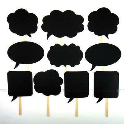 (10 Pcs Colourful Party Props Photo Booth on Sticks DIY Funny 'Engagement Wedding Party Special by Trimming)