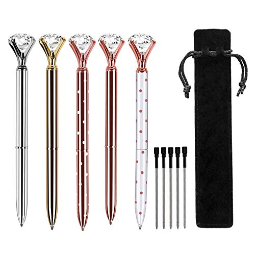 5 PCS Big Crystal Diamond Ballpoint Pen,HabiLife Metal Ballpoint Pen Office Supplies,Gold Pens with 5 Ballpoint Pen Refills, 1 Black Velvet Bag, Black Ink