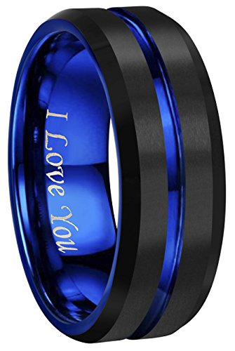 Mm Satin 10 Ring - CROWNAL 4mm 6mm 8mm 10mm Blue Groove Black Matte Finish Tungsten Carbide Wedding Band Ring Engraved I Love You (8mm,9)