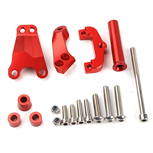 Applicable to Kawasaki ER6N Motorcycle Damping Bracket CNC Aluminum Alloy Direction Stabilizer Titanium Size Bracket,Red ()