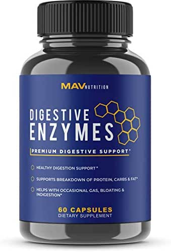 MAV Nutrition Digestive Enzymes & Probiotics, Digestion Aid with 3 Strains, Shelf Stable, Non-GMO, 60 Count