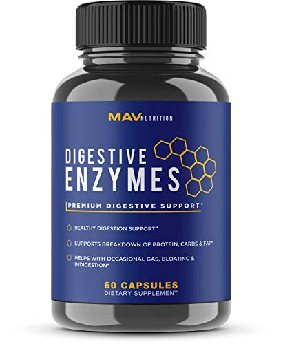 Digestive Enzymes + Probiotics Supplement Designed to Decrease Bloating and Flatulence with Protease Enzyme, Bromelain, and Lactase; Digestion Aid with Three Powerful Strains of Bacteria; NON-GMO -