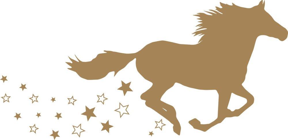 GRAZDesign 300053_57_WT010 Wandtattoo Wandaufkleber Tattoo für Mädchenzimmer Pferd galoppieren Sterne (116x57cm    010 Weiss) B01F1U9Z4U Wandtattoos & Wandbilder