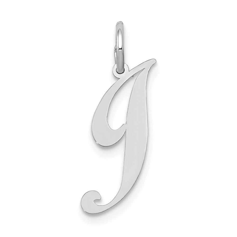 14k White Gold Small Fancy Script Initial J Charm