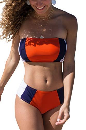 CUPSHE Women's Tricolor Bandeau Bikini Set Swimsuit Small