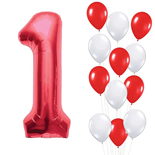 Number 1 Red Mylar Balloon – Large, Pack of 13 |6 Red and 6 White Latex Balloons | 1st Birthday Party Decorations Supplies Kit | First Bday Party Supplies | Red and White Theme