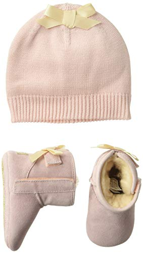UGG Girls' Baby Jesse Bow II & Beanie Gift Set Crib Shoe, Pink, 0/1 M US Infant