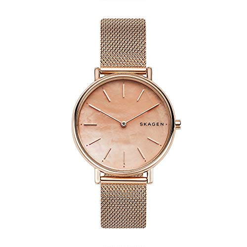 Mesh Skagen Tone Rose Watch Gold - Skagen Women's Signatur Slim Mother-of-Pearl - SKW2732 Rose Gold One Size