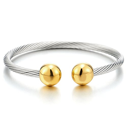 Mens Stainless Steel Two Tone Bracelet - COOLSTEELANDBEYOND Elastic Adjustable Mens Stainless Steel Twisted Cable Magnetic Bangle Bracelet Silver Gold Two-Tone