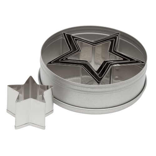 Ateco 7805 Plain Edge Star Cutters in Graduated Sizes, Stainless Steel, 6 Pc Set - Star Dough Cutter