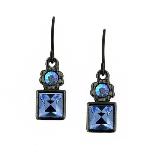 1928 Jewelry Blue Square Drop Earrings