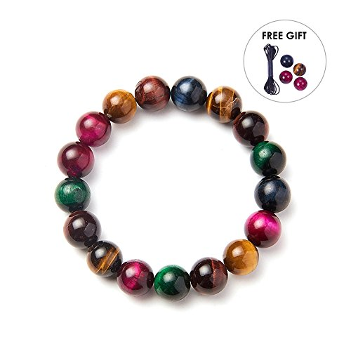 SUNNYCLUE Natural Genuine Gemstones Multi Tiger Eye Bracelet Stretch 10mm Round Beads about 7