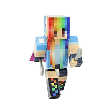 Rainbow Girl Action Figure Toy, 4 Inch Custom Series Figurines by EnderToys (Mini Mine Craft Characters)