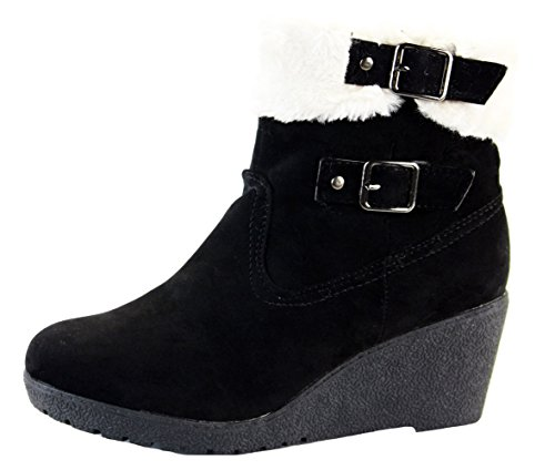 Ladies Womens Black Suede High Heel Wedges Shoes Platform Ankle Wedge Boots Size 3-8 Style 3 - Black 3KU02f4