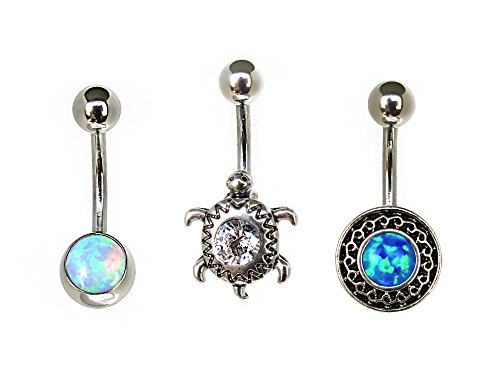 Hailey.L 3Pcs Set 14G Belly Button Rings 316L Surgical Steel Created Opal CZ Curved Barbell Body Jewelry (Free Shipping Rings Button Belly)