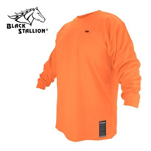 BLACK STALLION FR Cotton T-Shirt - Safety Orange Long Sleeve FTL6-ORA - MEDIUM by Revco