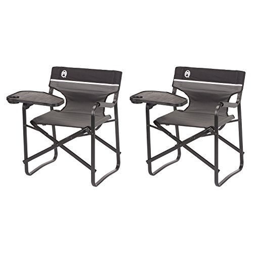 Coleman Aluminum Chairs + Swivel Table and Drink Holder, 2-Pack | 2 x 2000020295 (Coleman Aluminum Camping Chair)