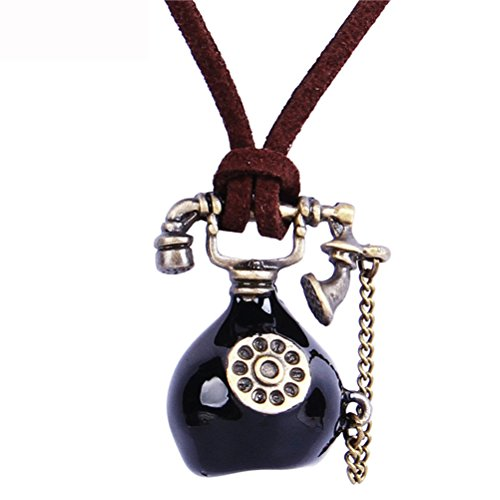 Mrsrui Fashion Old Telephone Exquisite Pendant Necklace Novelty Jewelry Valentines Gift For Women Girl by Mrsrui