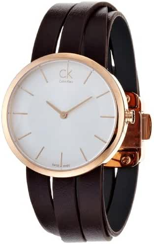 Calvin Klein Extent Silver Sunray Dial Ladies Leather Watch K2R2S6G6