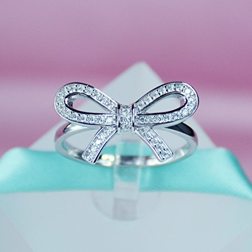925 Sterling Silver Bow Ring, Cubic Zirconia Stone, Promise Ring