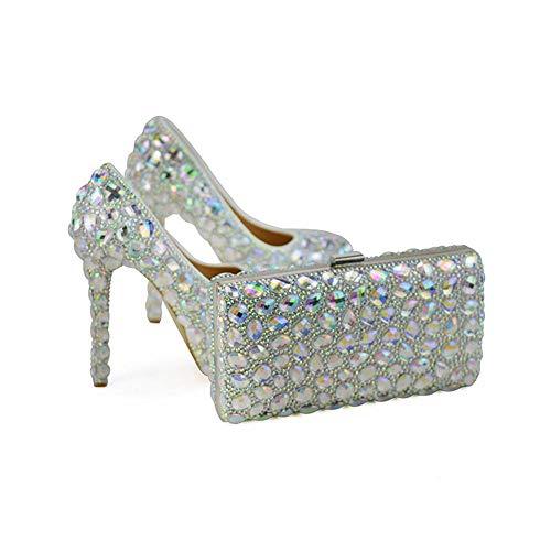 Pumput Plus Kuohuviini Crystal Cinderella Kengät Ab Häät 12cm Kantapäät Ohut Koko Alustan Prom Nainen Yhteensopivat Kukkaro Korkokenkiä wrwOF