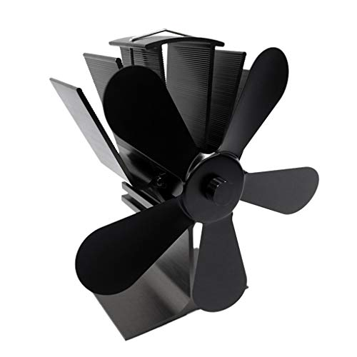 Yuxiale Heat Powered Stove Fan with 5 Blades - Aluminium Silent Eco-Friendly for Wood Log Burner Fireplace