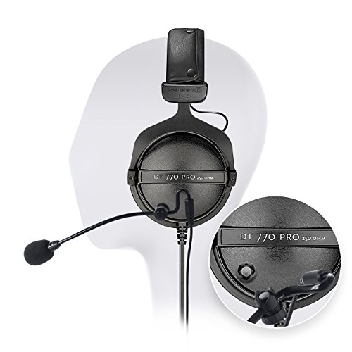 Beyerdynamic DT 770 Pro 250 Ohm Closed Back Studio Headphone Bundle INCLUDES Antlion Audio ModMic Attachable Boom Microphone - Noise Cancelling with Mute Switch AND Blucoil Y Splitter by blucoil