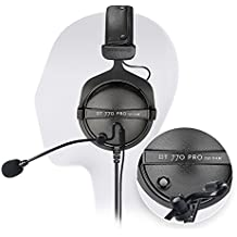 Beyerdynamic DT 770 Pro 250 Ohm Closed Back Studio Headphone Bundle INCLUDES Antlion Audio ModMic Attachable Boom Microphone - Noise Cancelling with Mute Switch AND Blucoil Y Splitter