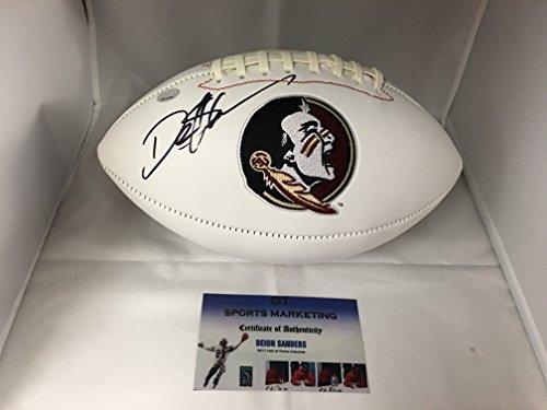 Deion Sanders Autographed Football (Deion Sanders Autographed Signed Florida State Logo Football GTSM COA & Hologram)