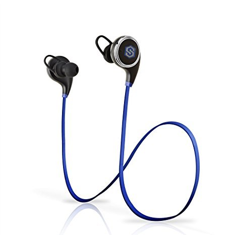 Bluetooth Earbud Headphones, SmartOmni ® Smart i8 In-Ear V4.1 Bluetooth Sports Headphones with Mic, APT-X Stereo CVC 6.0 Noise-Cancelling Headset for Apple and Android Devices-Blue & Black