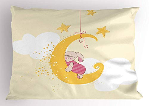 K0k2t0 Baby Shower Pillow Sham, Teddy Bunny Sleeping on Crescent Moon with Stars Cartoon Sky Image, Decorative Standard Queen Size Printed Pillowcase, 30 X 20 inches, Beige Yellow and Pink