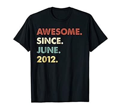 Retro Awesome Since June 2012 6th Years Old Birthday Shirt