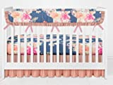 Vintage Floral Crib Bedding Set- 3 Piece Girl crib bedding set with Ruffle Rail Guard- Handmade in the USA by Twig + Bird
