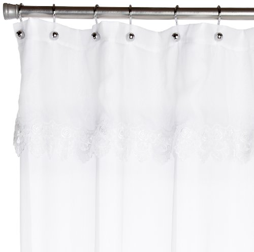 Lorraine Home Fashions Seville Shower Curtain, 70 by 72-Inch, White