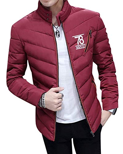 Jacket Short Bomber Jacket Jacket Warm Winered Men's Casual Quilted Coat Mandarin Coat with Winter Apparel Quilted Collar Parka qtZZS8