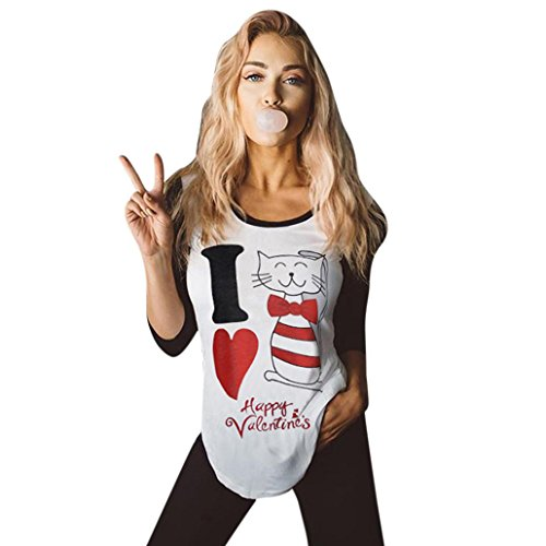 Sinma Happy Valentine's Women Fashion Blouse Long Sleeve Printed Casual Tops Shirt (S, White | Cat Pattern) by Sinma