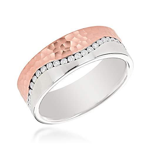 (Two Tone Mens Diamond Eternity Wedding Band 14K Gold Designer Ring 0.6 ctw (Rose Gold, Size 7.5))
