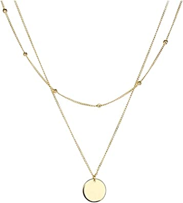 Delicate vintage star necklace Layered star choker necklaces for women Dainty gold coin necklace with cz star Boho medallion pendant