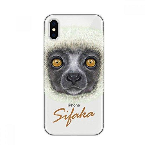 White Fluffy Sifaka Monkey Animal Apple iPhone X Phone Case Flexible TPU Soft Slim Transparent Cover Gift