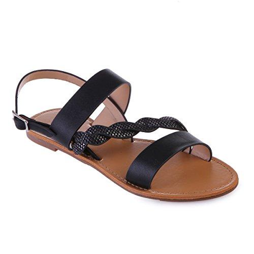 Sandales suédine Cuir Simili Plates en La et Noir Modeuse TBwqaS5P