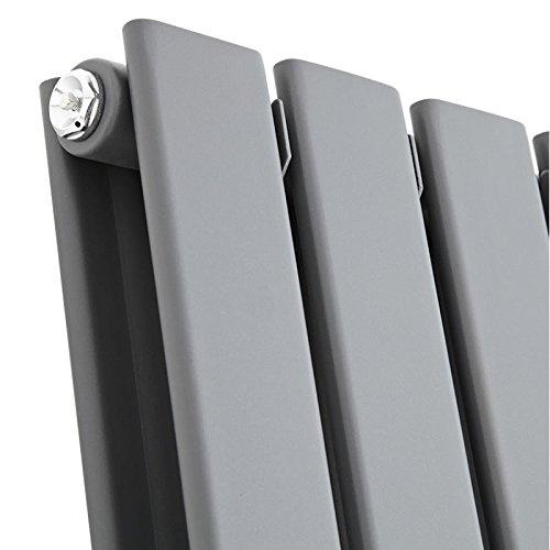Hudson Reed TDRASP24 - Radiador Calentador Mural Diseño Vertical Doble en Acero - Acabado Gris Antracita - 1780mm x 490mm - 1362 Vatios - Calefacción ...