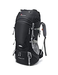 Mountaintop 65L Internal Frame Backpack Water-resistant Hiking Backpack Backpacking Trekking Bag for Climbing,camping,hiking,Travel and Mountaineering with Rain Cover-5822III