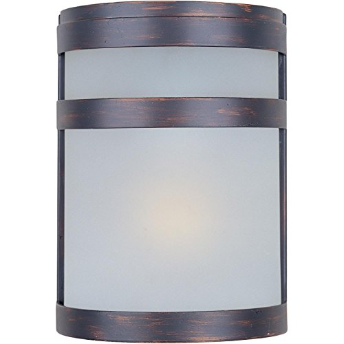 Maxim 86005FTOI Arc EE 1-Light Outdoor Wall Sconce Lantern, Oil Rubbed Bronze Finish, Frosted Glass, GU24 Fluorescent Fluorescent Bulb , 60W Max., Dry Safety Rating, 2700K Color Temp, Standard Dimmable, - Outdoor Wall Arc Mount