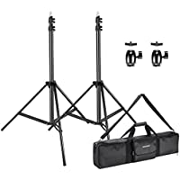 Neewer 2-Pack 8.5 feet/2.6 meters Adjustable Light Stands with 2-Piece 1/4-inch Screw Tripod Mini Ball Head Hot Shoe Adapters and Carrying Case for HTC Vive VR, Video, Portrait and Product Photography