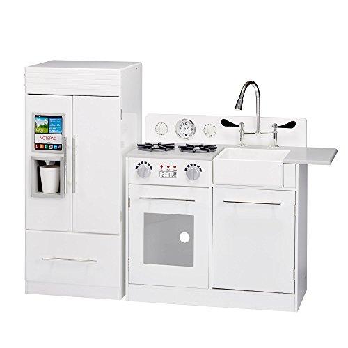 Teamson Kids – TD-12302WR Modern Play Kitchen with Ice Maker | White | Pre-K 2 Pieces Kitchen