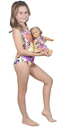 High End Boutique Quality Girls One Piece Bathing Suit and Matching 18 Inch Doll Swimwear Outfit for Kids M (6-7 yrs) Gold Butterfly
