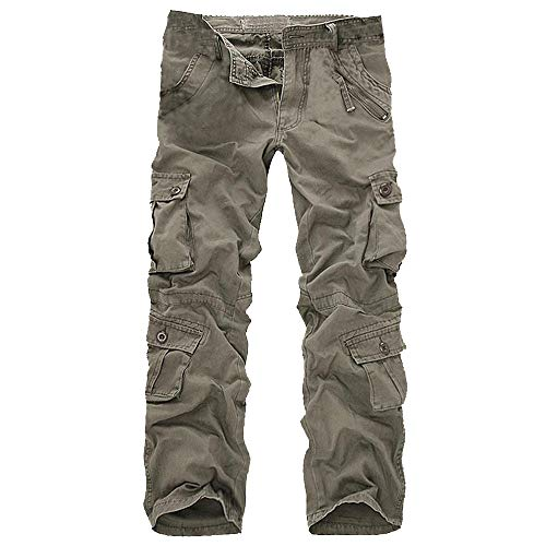 iYYVV Mens Fashion Casual Cotton Multi-Pocket Outdoors Work Trouser Long Cargo Pants ()